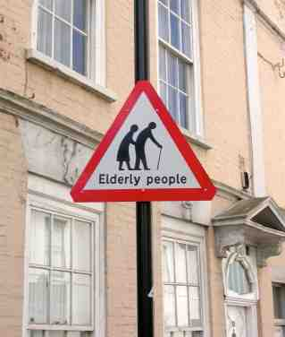 Elderly People Crossing: Safety Sign