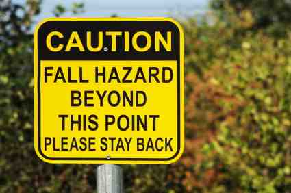 Fall Hazard Safety Sign on Cliff